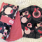 Nappy Wallet and Burp Cloth, red, white, polka dots, geisha, flowers