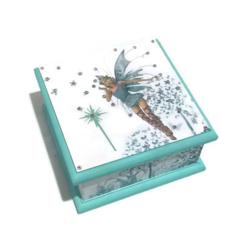 Fairy Keepsake Trinket Treasure Jewellery Memory Wooden Box - Aqua & White