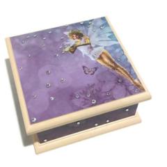 Fairy Keepsake Trinket Treasure Jewellery Memory Wooden Box - Purple & Cream