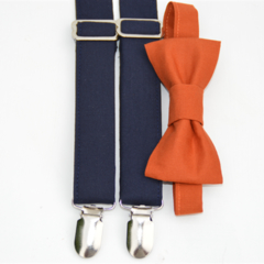 bow tie and braces - burnt orange bow tie, navy suspenders, formal clothes