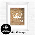 "8X10"" Wall Art Print Quote Typography Modern - Vintage Map Moustache Man"