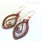 Wire Wrapped Copper Leaf & Swarovski Crystal Earrings