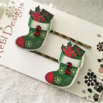 Green Christmas Stocking Hair clips