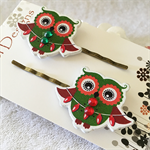 Green and red Christmas Owl with decorations Hair clips
