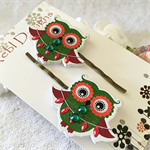 Green Christmas Owl with decorations Hair clips