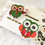 Green and red Christmas Owls - Hair clips