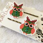 Green Christmas Owls - Hair clips