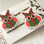 Red Christmas Owls - Hair clips