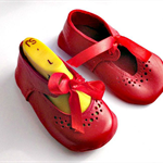 Vintage inspired ankle tie Red leather baby Mary Janes
