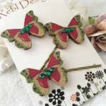 Butterfly Hair pins - Green and hot pink