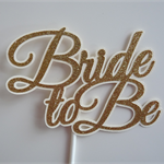 Bride to Be Cake Topper - Glitter Gold, Bridal Shower, Engagement Decor Party