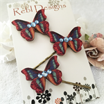 Butterfly Hair pins - Red blue and yellow