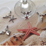 Nautical Beach Wine Glass Charms Sea Shell Starfish Ocean Set x 4