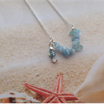 Silver Plated Aquamarine Beads Beach Pendant Enamel Seahorse Charm Necklace