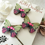 Butterfly Hair pins - Teal Green and hot pink
