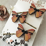 Butterfly Hair pins - Tan brown and black