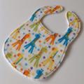 Baby / Toddler bib Giraffes unisex blue yellow green orange / snap fasten