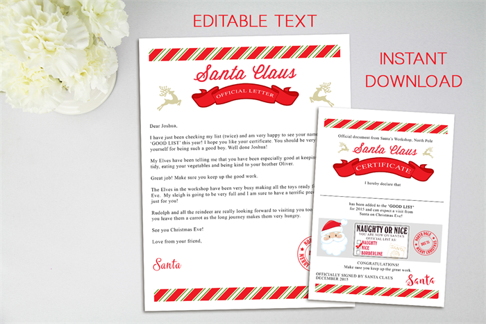 Letter from santa editable file letter from santa claus letter from santa editable file letter from santa claus christmas letter spiritdancerdesigns Choice Image
