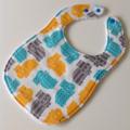 Baby / Toddler bib Hippopotamus blue yellow grey spots stripes / snap fasten