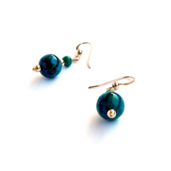 Blue Green Azurite and Gold Gemstone Earrings
