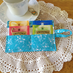 Blue Floral Print Tea Wallet with white pocket - holds 4 teas