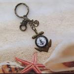 Nautical Antique Bronze Compass Design Cabochon Anchor Setting Keyring Bag Charm
