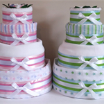 4 Tier Silver Nappy Cake - Baby Shower Diaper Cake New Baby Gift Hamper