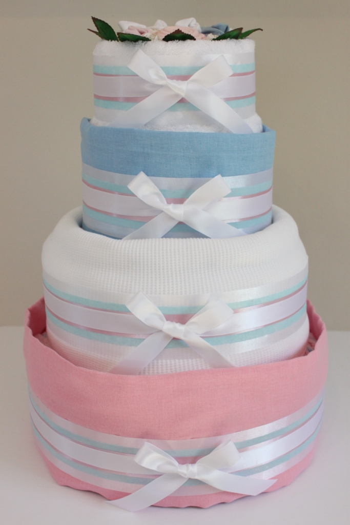 4 Tier Twins Nappy Cake Baby Shower Diaper Cake New Baby Gift