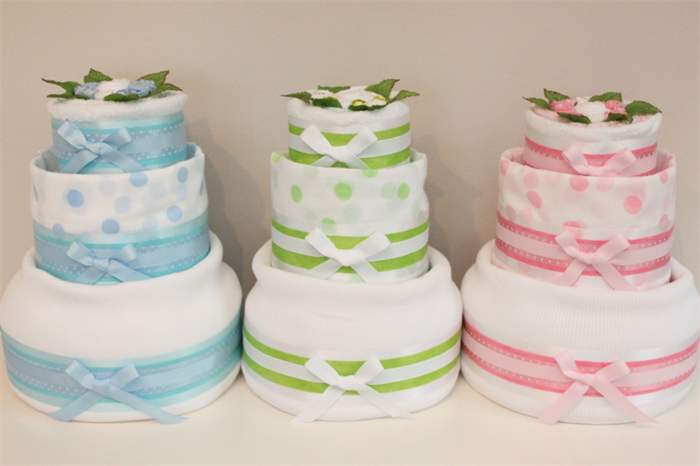 3 Tier Twins Nappy Cake Baby Shower Diaper Cake New Baby Gift