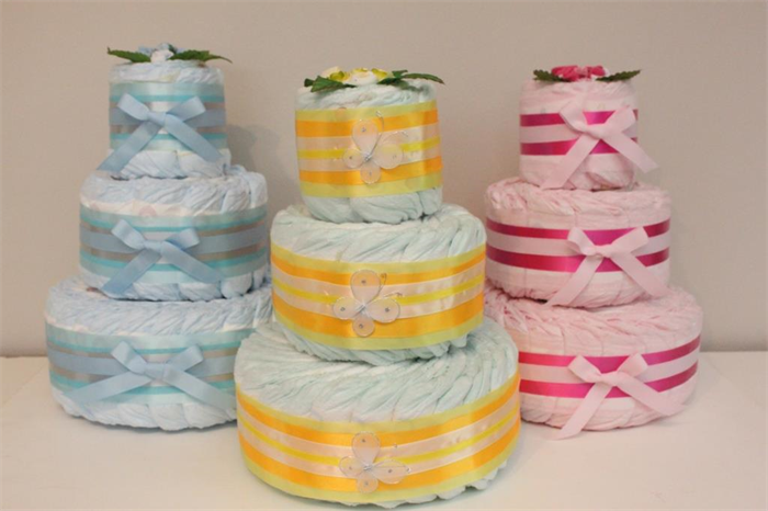 3 Tier Bronze Nappy Cake - Baby Shower Diaper Cake New Baby Gift Hamper | Zoey DeZigns | madeit.com.au