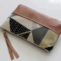 Clutch, zipper pouch, linen and leather