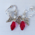 Angel earrings, red with silver clip on.