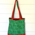 Mini Tote Bag - Christmas Red & Green - Totally Reversible