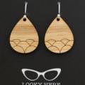 Shell Pattern Drops ~Laser Cut, Etched Bamboo Teardrop  Earrings