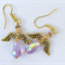 Mauve angel earrings with gold hooks