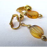Amber earrings with gold clip ons