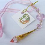 Pink wedding bride good luck charm, mirror dangle, suncatcher.