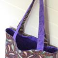 Mini Tote Bag - Purple Paisley - Totally Reversible