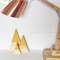 Mountain block set of 3 - Wood Triangle blocks with mustard peaks.
