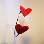 Valentine's Day Head band  with red and white  hearts