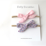 The 'Emma' Set of 2 Bows on Headbands - Floral and Pink