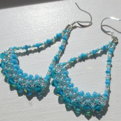 Aqua Crystal and Seed Bead Trapeze Earrings