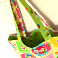 Mini Tote Bag - Pink & Green Strawberry Shortcake - Totally Reversible