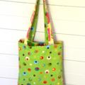 Mini Tote Bag - Pink & Green Strawberry Shortcake - Totally Reversible