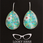 Floral Turquoise~ Teardrop Lever Back Earrings