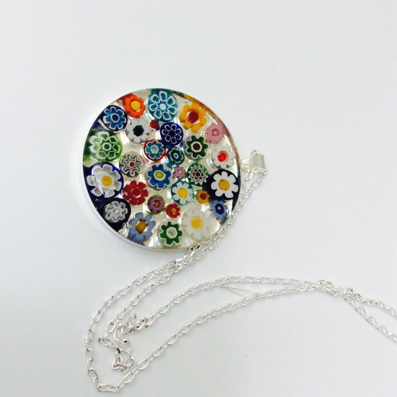 Murano glass millefiori pendant necklace large round multi murano glass millefiori pendant necklace large round multi coloured flowers mozeypictures Images