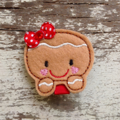 "2"" Felt Christmas Gingerbread Face Hair Clip"