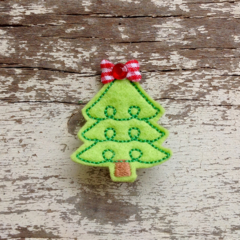 "2"" Felt Christmas Tree Hair Clip"