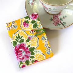 Tea Bag Wallet / Travel Tea Purse - Pink Flowers on Yellow