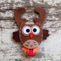 """2"""" Felt Christmas Reindeer Owl Hair Clip"""